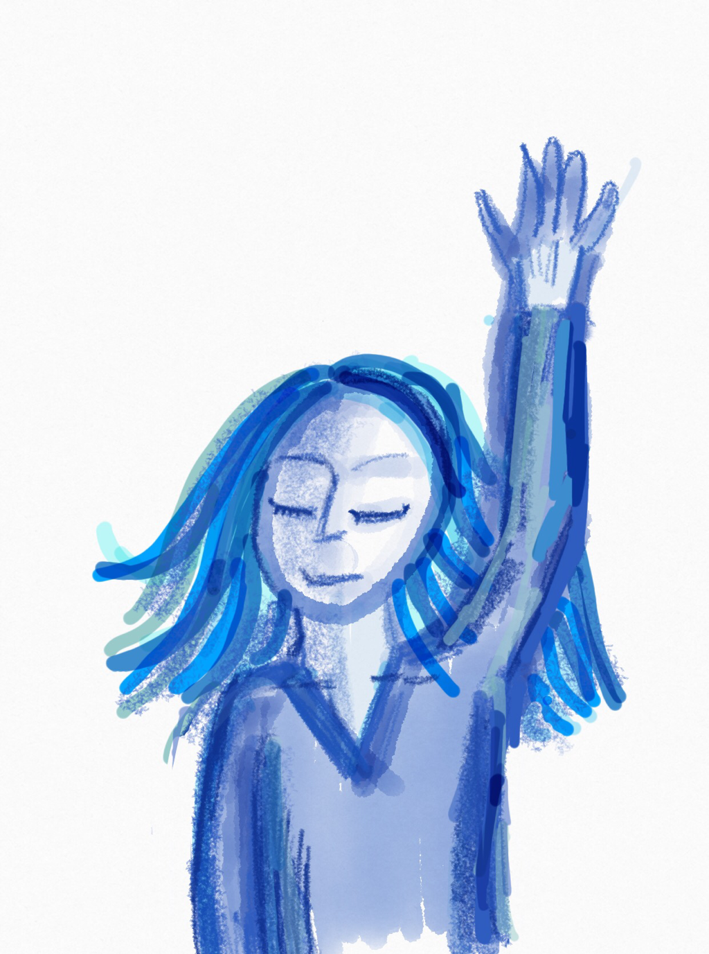 Hand drawn in shades of blue a girl holds up her hand
